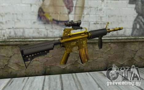 Золотая M4 с прицелом для GTA San Andreas второй скриншот