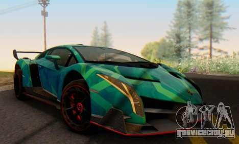 Lamborghini LP750-4 2013 Veneno Blue Star для GTA San Andreas вид сзади