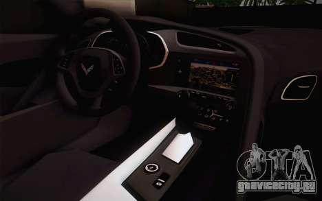 Chevrolet Corvette Stingray C7 2014 для GTA San Andreas вид сзади