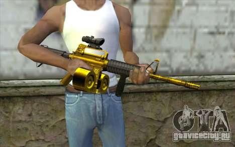 Golden M4 с магазином для GTA San Andreas третий скриншот
