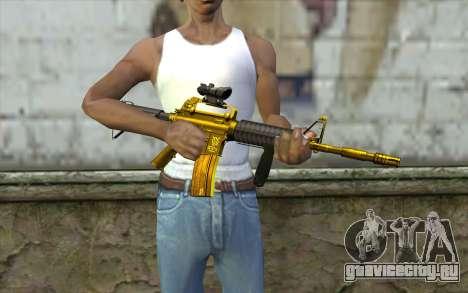 Золотая M4 с прицелом для GTA San Andreas третий скриншот