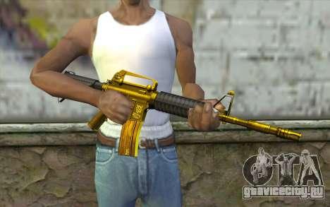 Золотая M4 без прицела для GTA San Andreas третий скриншот