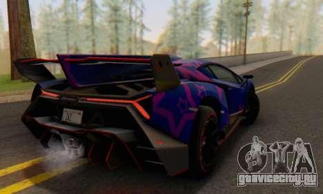 Lamborghini LP750-4 2013 Veneno Blue Star для GTA San Andreas вид сбоку