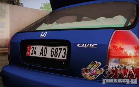 Honda Civic 1.4 BS Garage для GTA San Andreas вид сзади слева