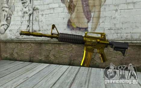 Золотая M4 без прицела для GTA San Andreas
