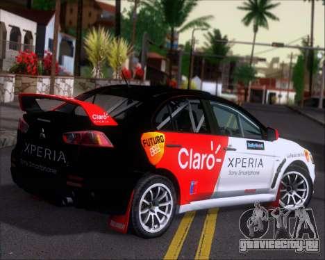 Mitsubushi Lancer Evolution Rally Team Claro для GTA San Andreas вид справа