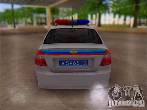 Chevrolet Aveo Милиция ЛНР для GTA San Andreas вид изнутри