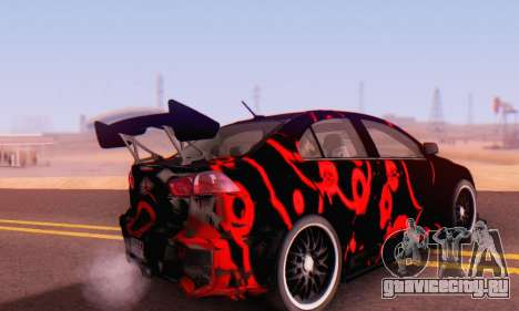 Mitsubishi Lancer EVO X Abstraction для GTA San Andreas вид сзади слева