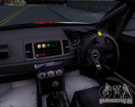 Mitsubushi Lancer Evolution Rally Team Claro для GTA San Andreas салон