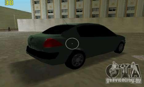 Renault Megane Sedan 2001 для GTA Vice City вид изнутри