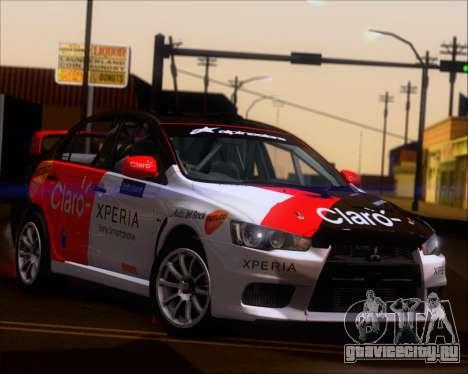 Mitsubushi Lancer Evolution Rally Team Claro для GTA San Andreas вид изнутри