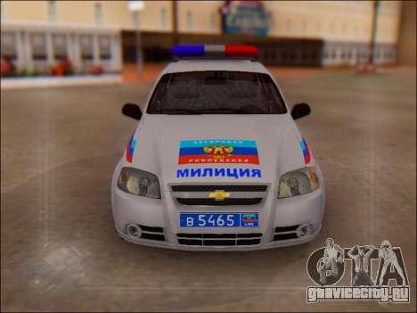Chevrolet Aveo Милиция ЛНР для GTA San Andreas вид сзади
