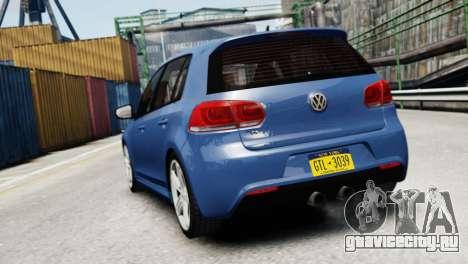 Volkswagen Golf R 2010 для GTA 4 вид сзади слева