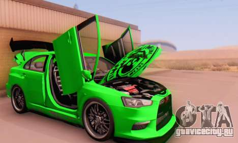 Mitsubishi Lancer Evolution X Metalhead для GTA San Andreas вид сзади