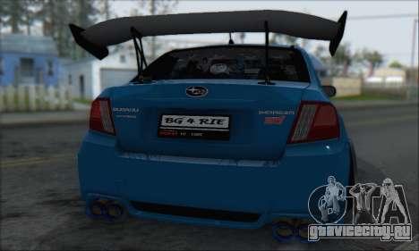 Subaru Impreza WRX STI 2010 для GTA San Andreas вид изнутри