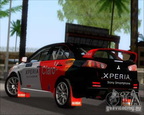 Mitsubushi Lancer Evolution Rally Team Claro для GTA San Andreas вид сзади слева