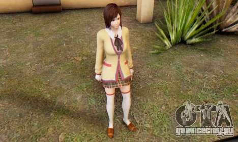 Kokoro wearing a school uniform (DOA5) для GTA San Andreas шестой скриншот