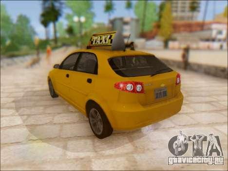 Chevrolet Lacetti Taxi для GTA San Andreas вид сзади слева