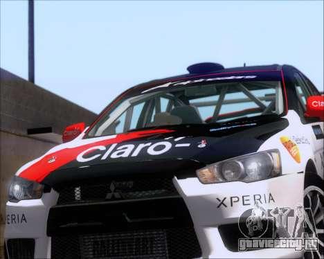 Mitsubushi Lancer Evolution Rally Team Claro для GTA San Andreas вид сзади