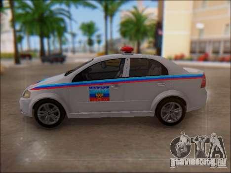 Chevrolet Aveo Милиция ЛНР для GTA San Andreas вид сверху