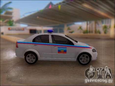 Chevrolet Aveo Милиция ЛНР для GTA San Andreas вид слева