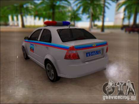 Chevrolet Aveo Милиция ЛНР для GTA San Andreas вид сбоку