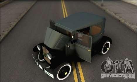 Ford T 1927 для GTA San Andreas вид изнутри