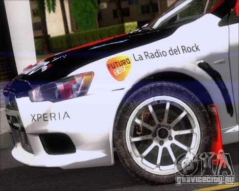 Mitsubushi Lancer Evolution Rally Team Claro для GTA San Andreas вид сбоку