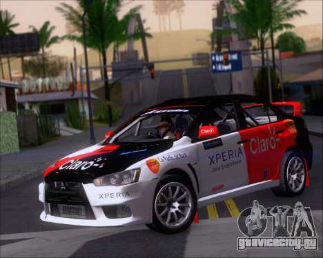 Mitsubushi Lancer Evolution Rally Team Claro для GTA San Andreas вид слева