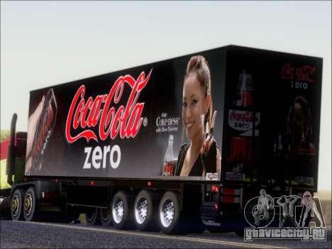 Прицеп Chereau Coca Cola Zero Truck для GTA San Andreas вид сзади слева
