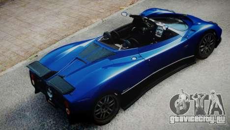 Pagani Zonda S (C12S) Roadster 2011 для GTA 4 вид сзади слева
