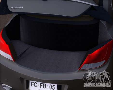 Opel Insignia OPC для GTA San Andreas вид снизу