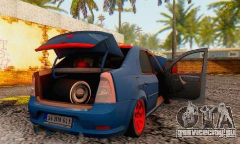 Dacia Logan Turkey Tuning для GTA San Andreas вид снизу