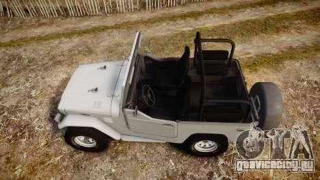 Toyota FJ40 Land Cruiser Soft Top 1978 для GTA 4 вид справа