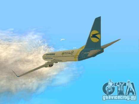 Boeing 737-84R Ukraine International Airlines для GTA San Andreas вид сзади слева