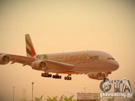 Airbus A380-800 Emirates Rugby World Cup для GTA San Andreas вид слева