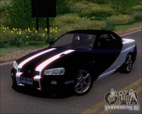 Nissan Skyline GT-R R34 V-Spec II для GTA San Andreas двигатель