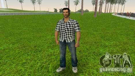 Kockas polo - fekete T-Shirt для GTA Vice City