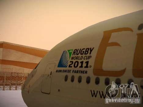 Airbus A380-800 Emirates Rugby World Cup для GTA San Andreas вид сбоку