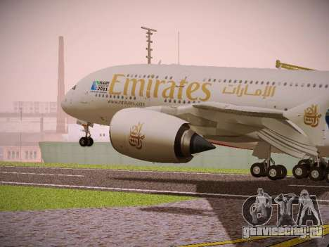 Airbus A380-800 Emirates Rugby World Cup для GTA San Andreas вид сзади