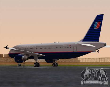 Airbus A320-232 United Airlines (Old Livery) для GTA San Andreas вид сзади слева