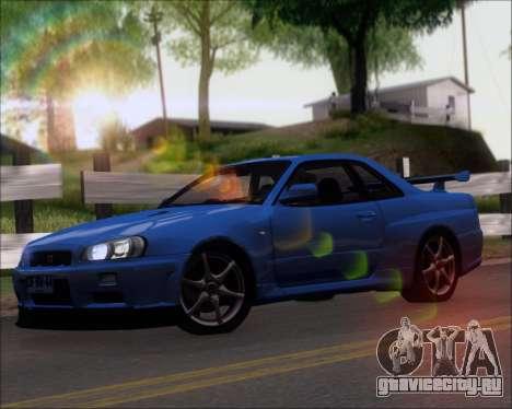 Nissan Skyline GT-R R34 V-Spec II для GTA San Andreas вид слева
