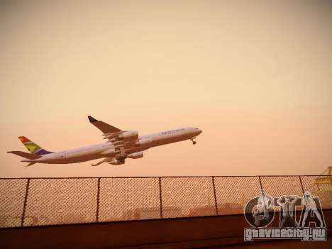 Airbus A340-600 South African Airways для GTA San Andreas вид сзади слева