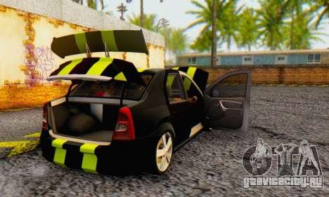Dacia Logan Black Style для GTA San Andreas вид сзади