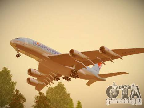 Airbus A380-800 Korean Air для GTA San Andreas вид изнутри