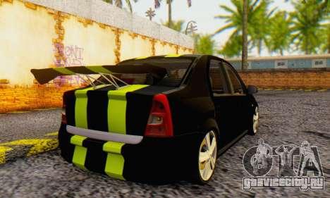 Dacia Logan Black Style для GTA San Andreas вид сзади слева
