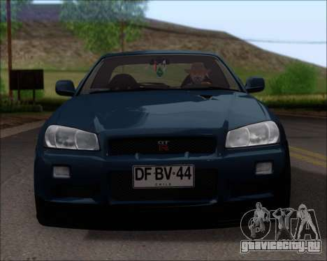 Nissan Skyline GT-R R34 V-Spec II для GTA San Andreas вид снизу