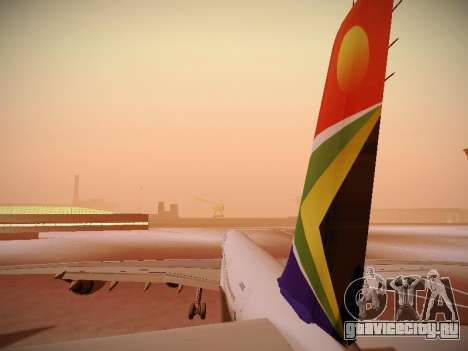 Airbus A340-600 South African Airways для GTA San Andreas двигатель