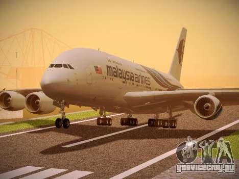 Airbus A380-800 Malaysia Airlines для GTA San Andreas вид сзади слева