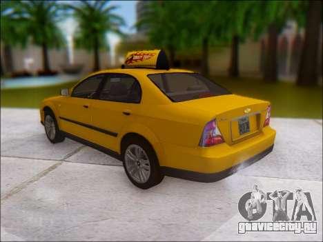 Chevrolet Evanda Taxi для GTA San Andreas вид сзади слева
